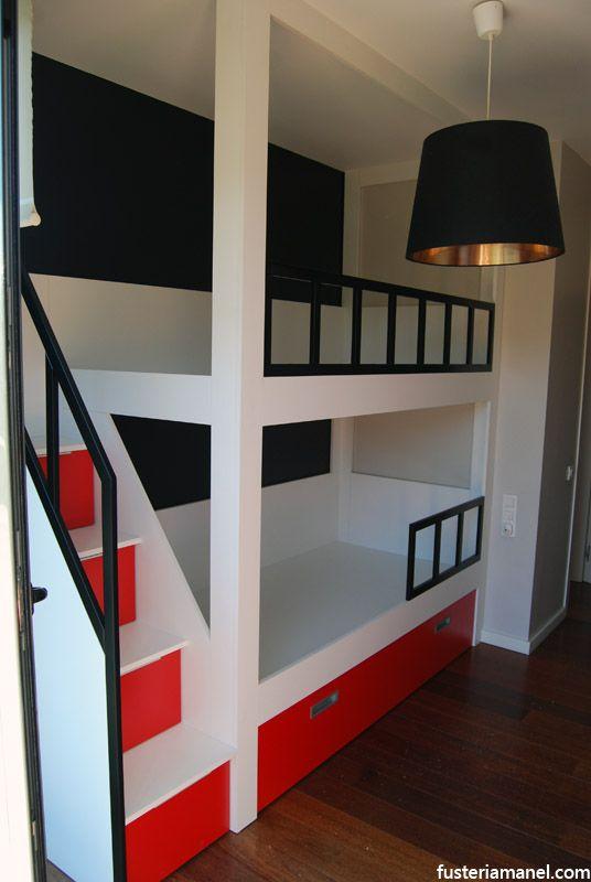 Litera a medida con escalera lateral con cajones proyecto for Habitaciones con literas