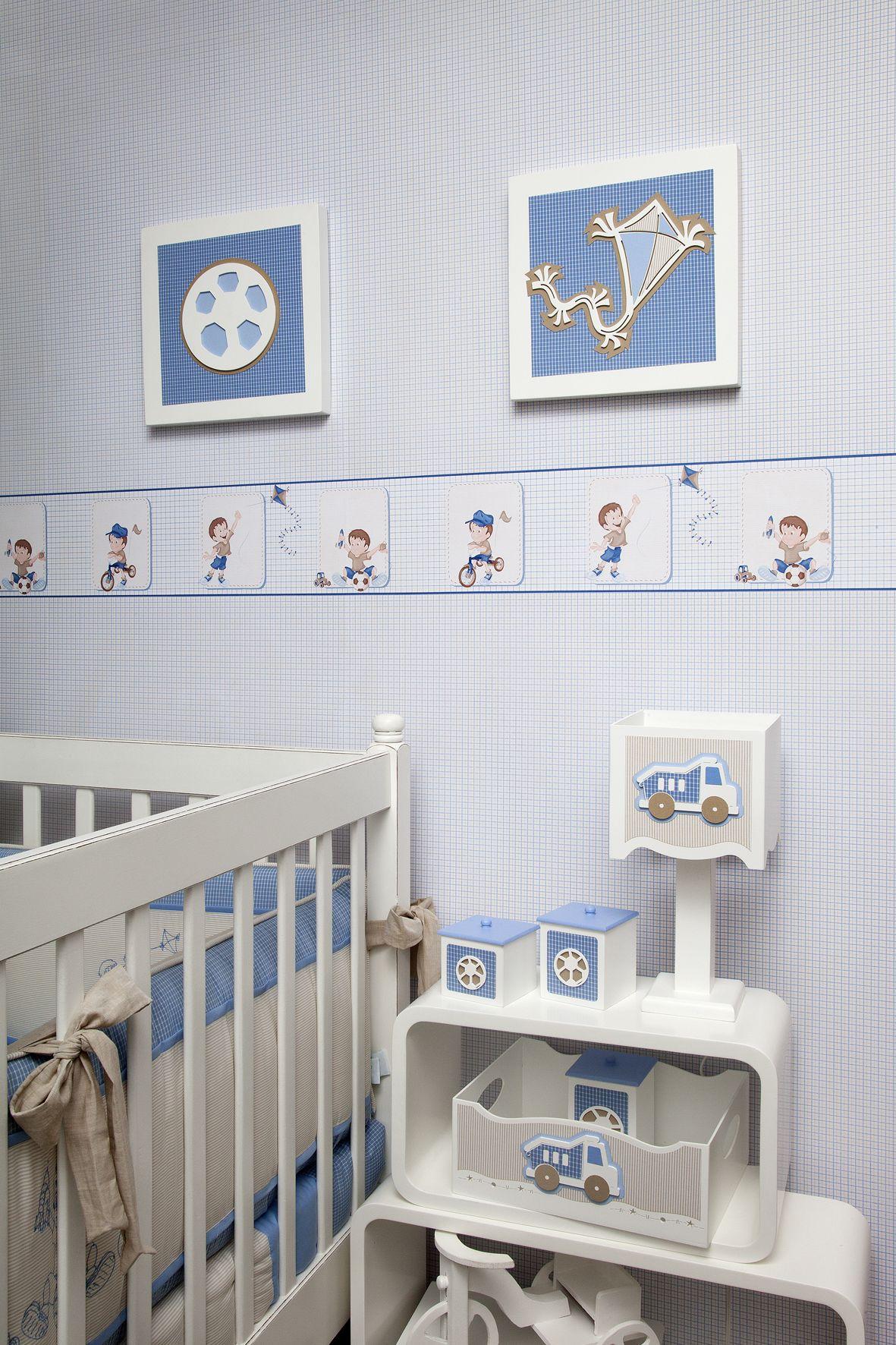 O Papel De Parede Quadriculado Tamb M Uma Tima Op O Para  ~ Quarto Simples De Bebe Menino E Moveis De Quarto Infantil