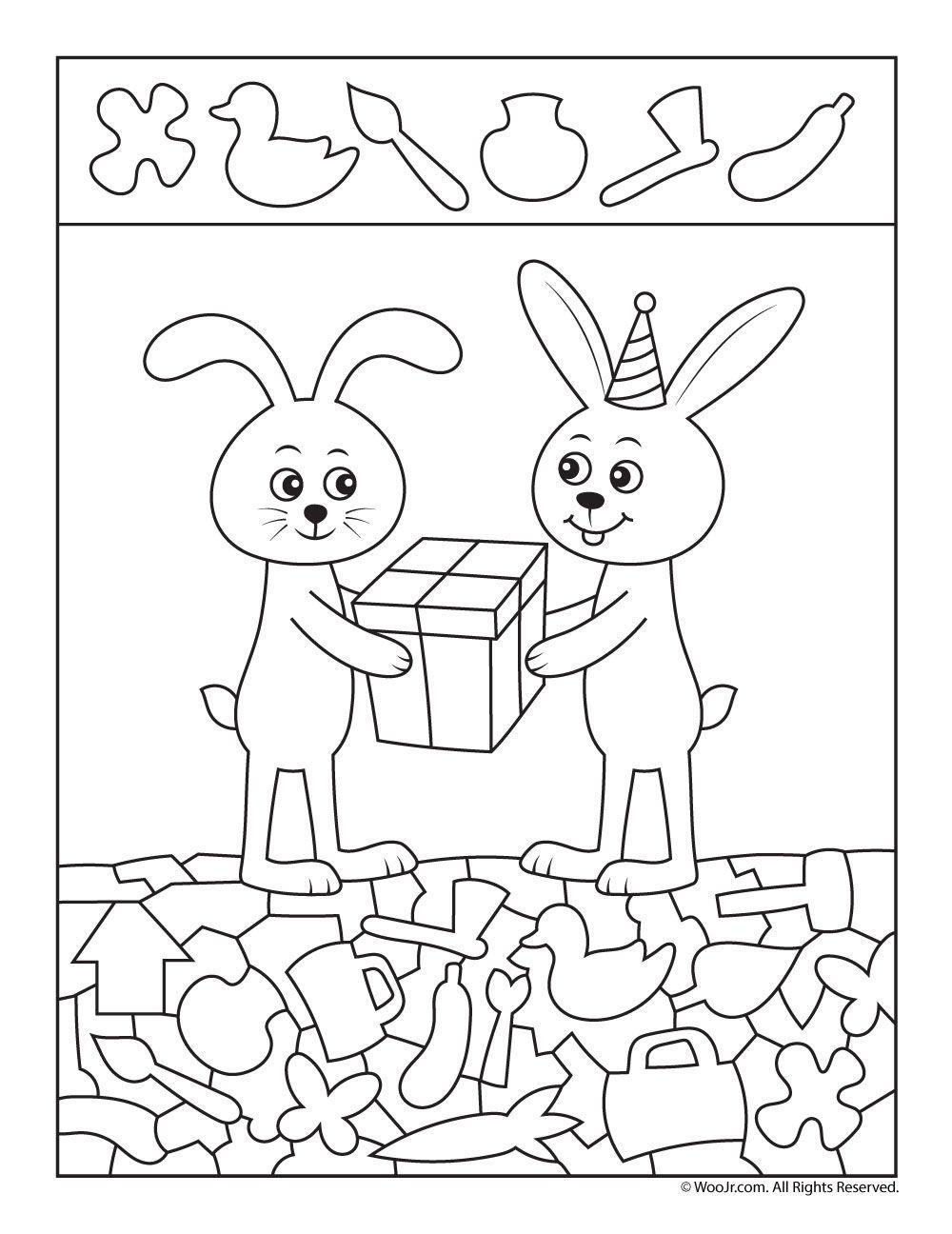birthday gift hidden picture worksheet logop dia pinterest cherche et trouve s regle de vie. Black Bedroom Furniture Sets. Home Design Ideas