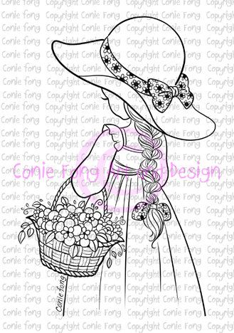 Digital Stamp Digi Stamp Spring Flowers By Conie Fong Coloring - Spring basket coloring page