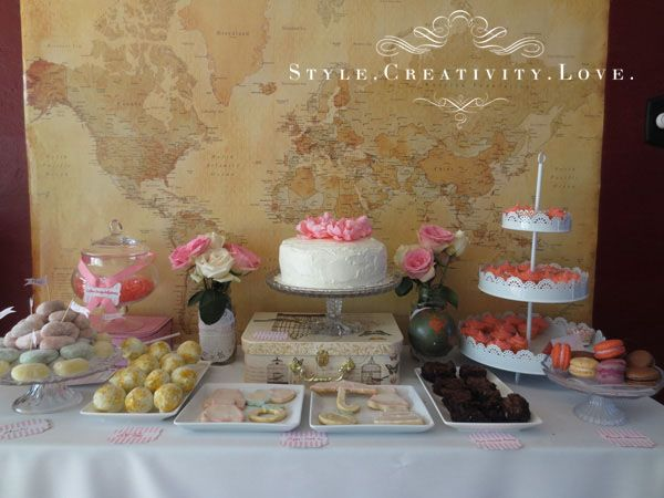 ee4b5304214 Travel Around The World Bridal Shower Dessert Buffet by Style Creativity  Love
