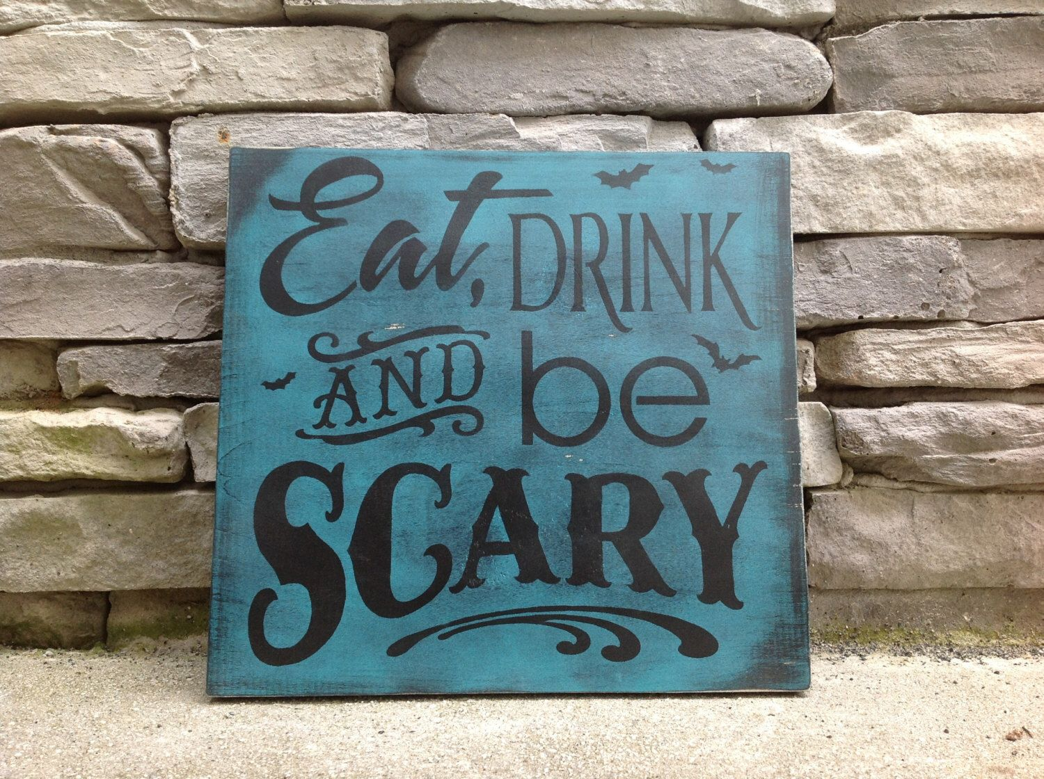 Eat drink and be scary Halloween sign Halloween decor wooden - scary halloween decor