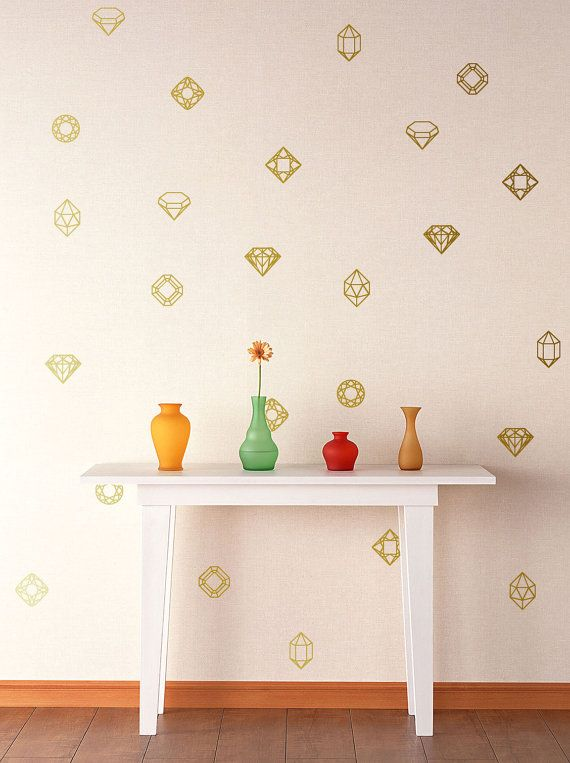 Gold or Copper Mixed Jewels and Gems Pattern Geometric Diamond Wall Decal & Gold or Copper Mixed Jewels and Gems Pattern Geometric Diamond Wall ...