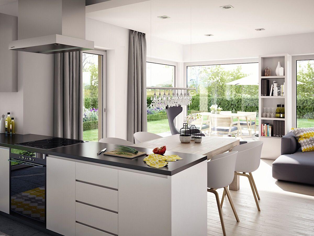 Offene Küche mit Esstisch, Wohn-Esszimmer modern einrichten ...