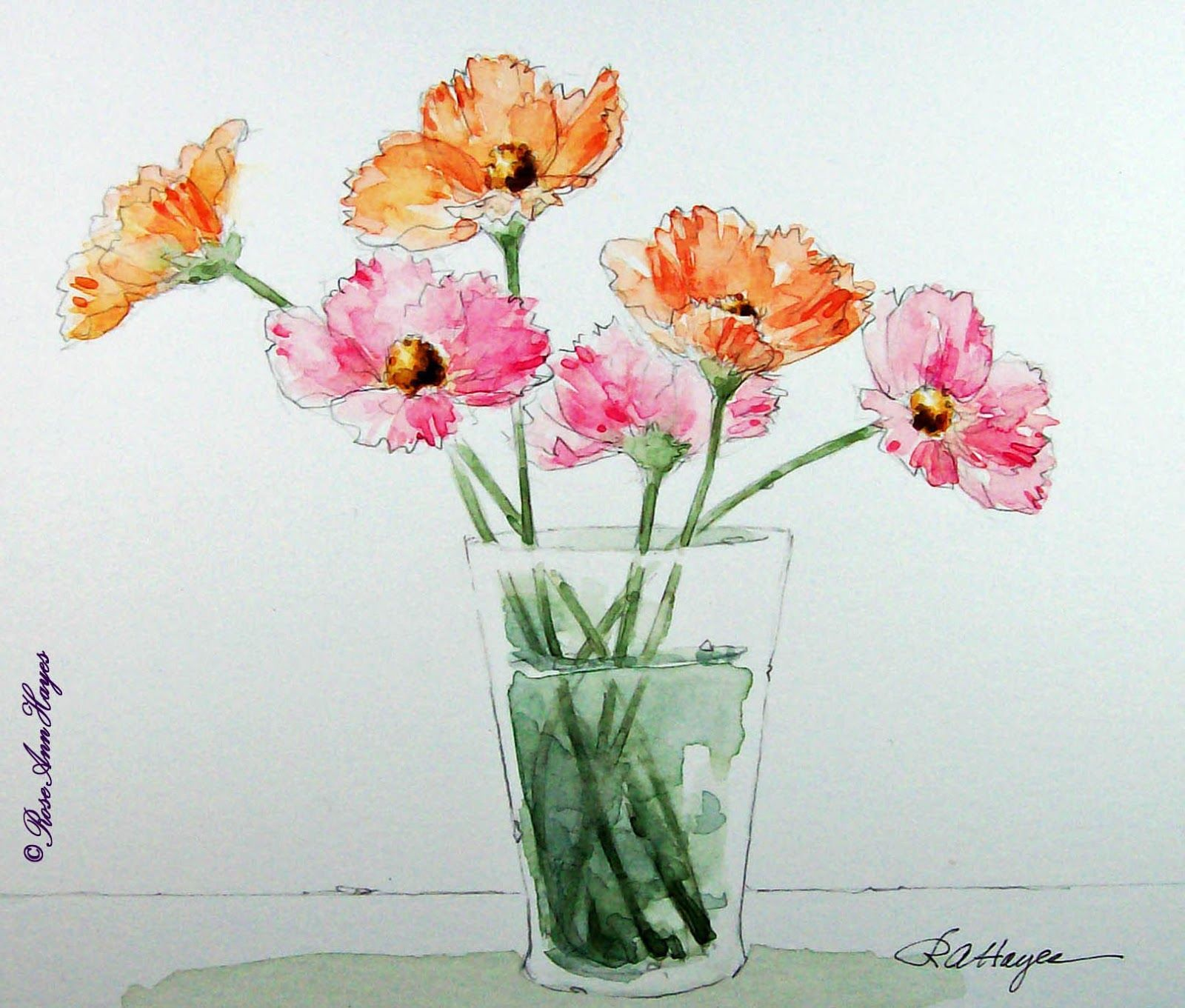 Cosmos Watercolor Painting Flower Painting Watercolor Paintings