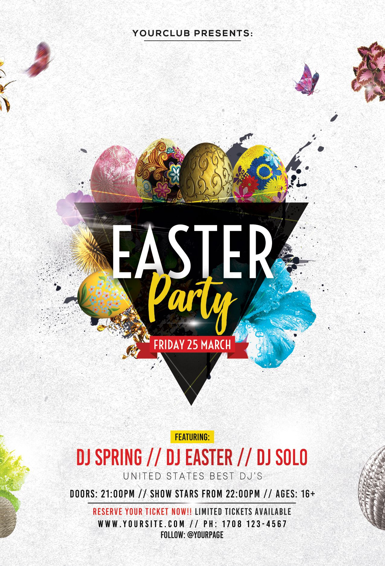 Easter Party Psd Free Flyer Template Disenos De Unas Free