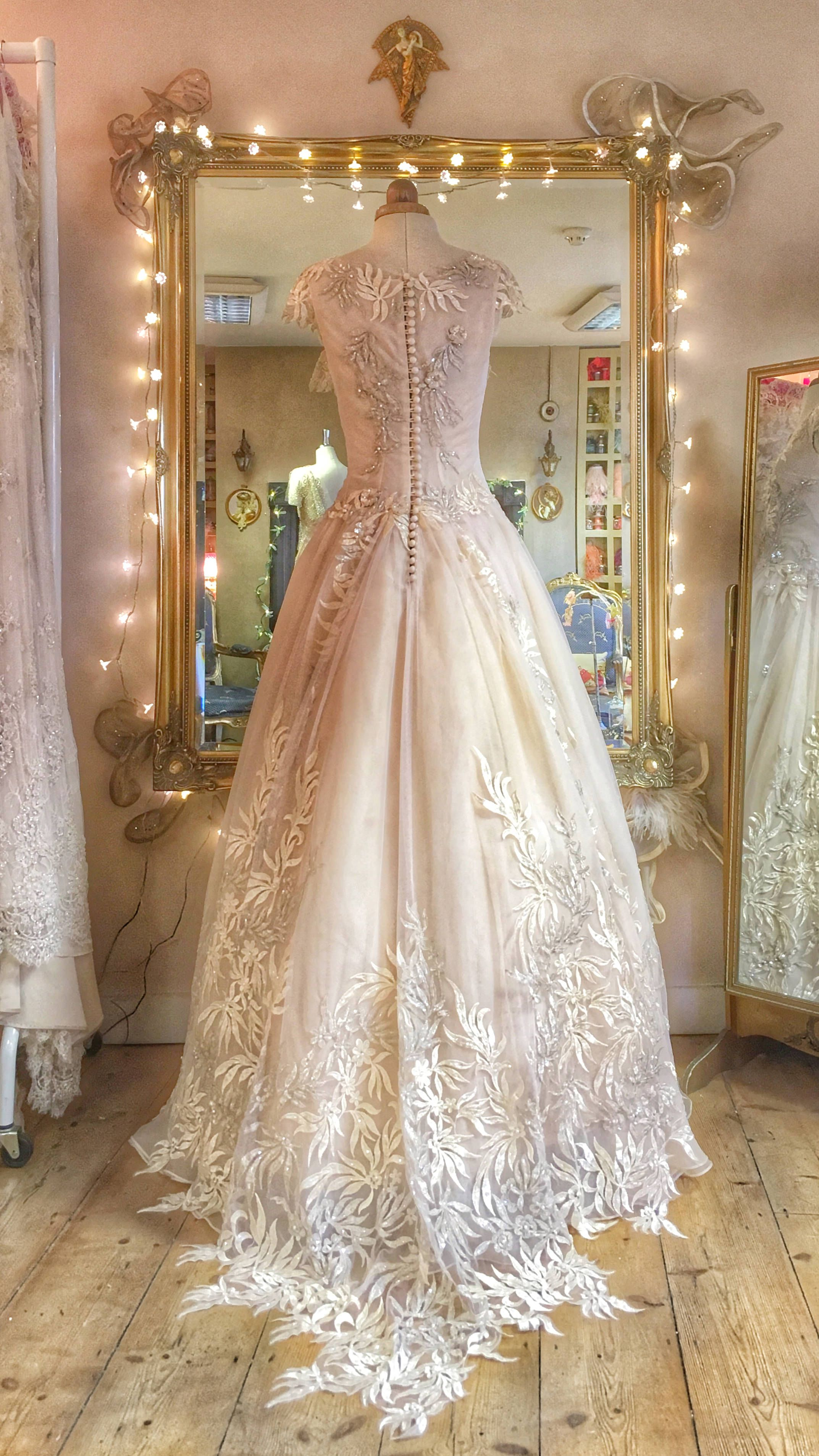 424704c560a Eos  blush pale dogwood embroidered silk organza wedding dress by Joanne  Fleming Design