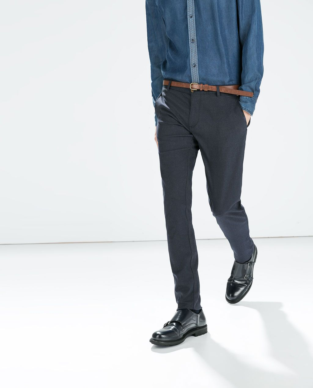 ZARA - MAN - DENIM LOOK TROUSERS WITH BELT