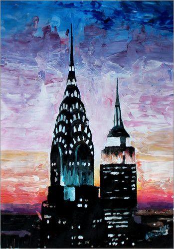 New York City Chrysler Building Empire State Building I Bilder: Poster Von  M. Bleichner