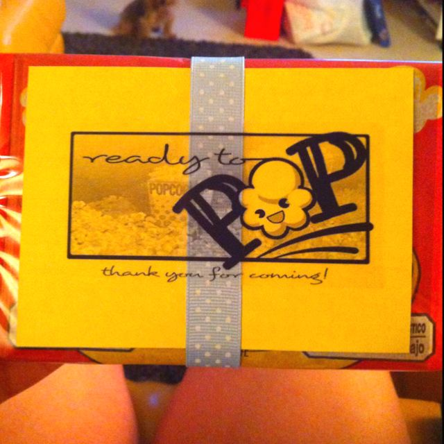 """""""about to pop"""" popcorn gift give-aways for the baby shower"""