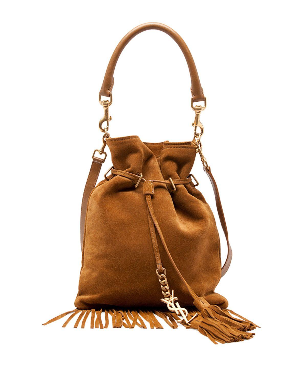 0f4d294ff1 Yves Saint Laurent Monogram Small Suede Fringe Bucket Bag, Camel, Size: S