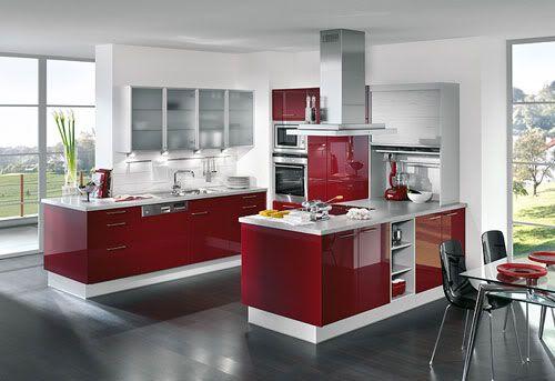 cocinas blancas y rojas Cocinas Pinterest Cocina blanca