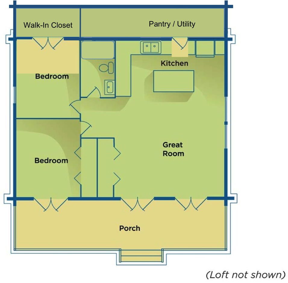 Basic Cabin Floor Plan Perfect With A Utility Room And Big Closet Behind The Kitchen Bathroom Bedroom Cabin Floor Plans Cabin Floor House Plans