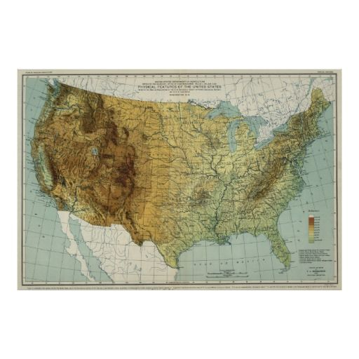 United States Physical Features Map Poster - United states physical features