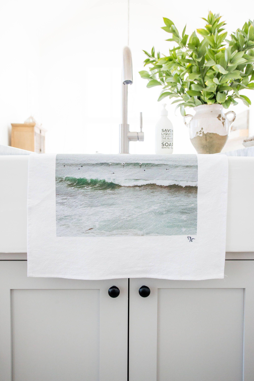Surfers Photograph printed on Cotton Flour Sack Towel / Modern ...