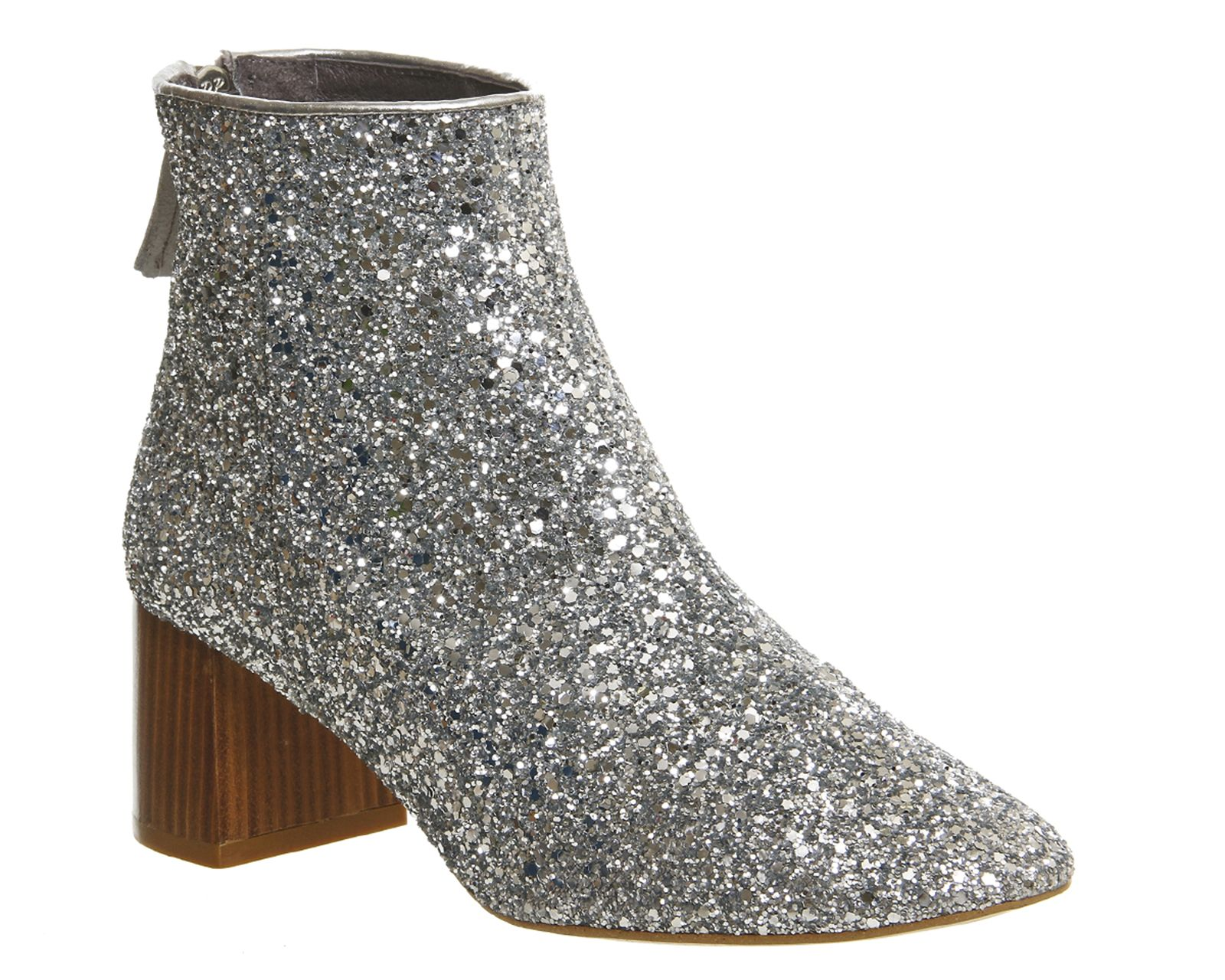 b89043ec9522 Buy Silver Glitter Office Jazz Hands Soft Mid Block Boot from OFFICE.co.uk