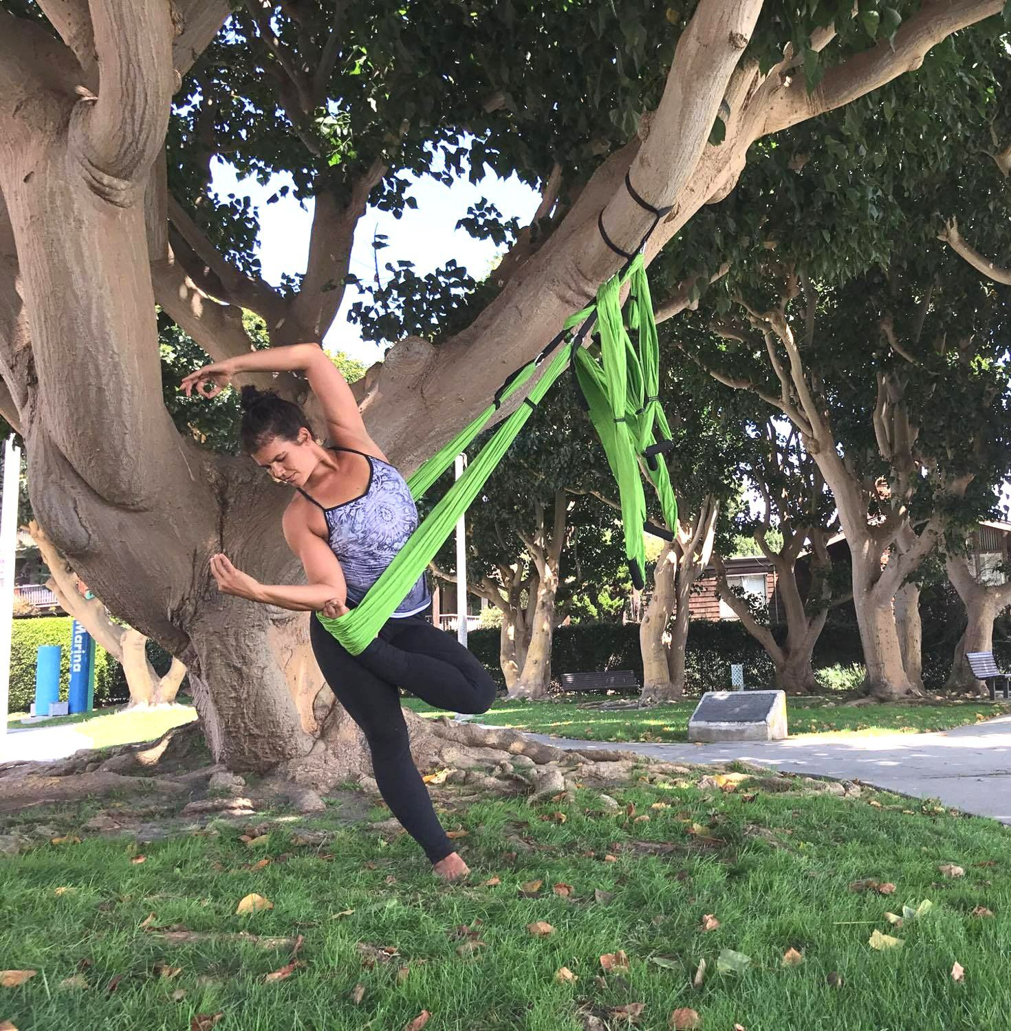 Hivvi aerial yoga swing hammock inversion sling trapeze strong