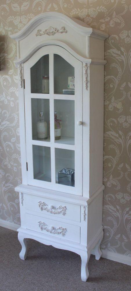 White Tall Slim Glass Display Storage Cabinet Ornate