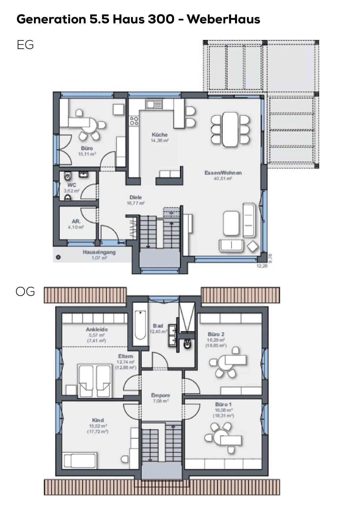 Grundriss Einfamilienhaus 6 Zimmer ohne Keller, offene