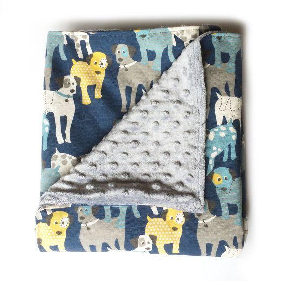 Woof Woof Baby Boy Minky Blanket Stroller by DotDotBabyBoutique $35
