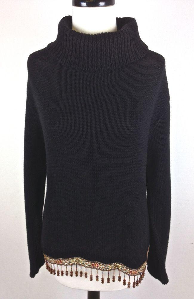 Boston Proper Sweater Womens Black Cotton Turtleneck Beaded Tunic ...