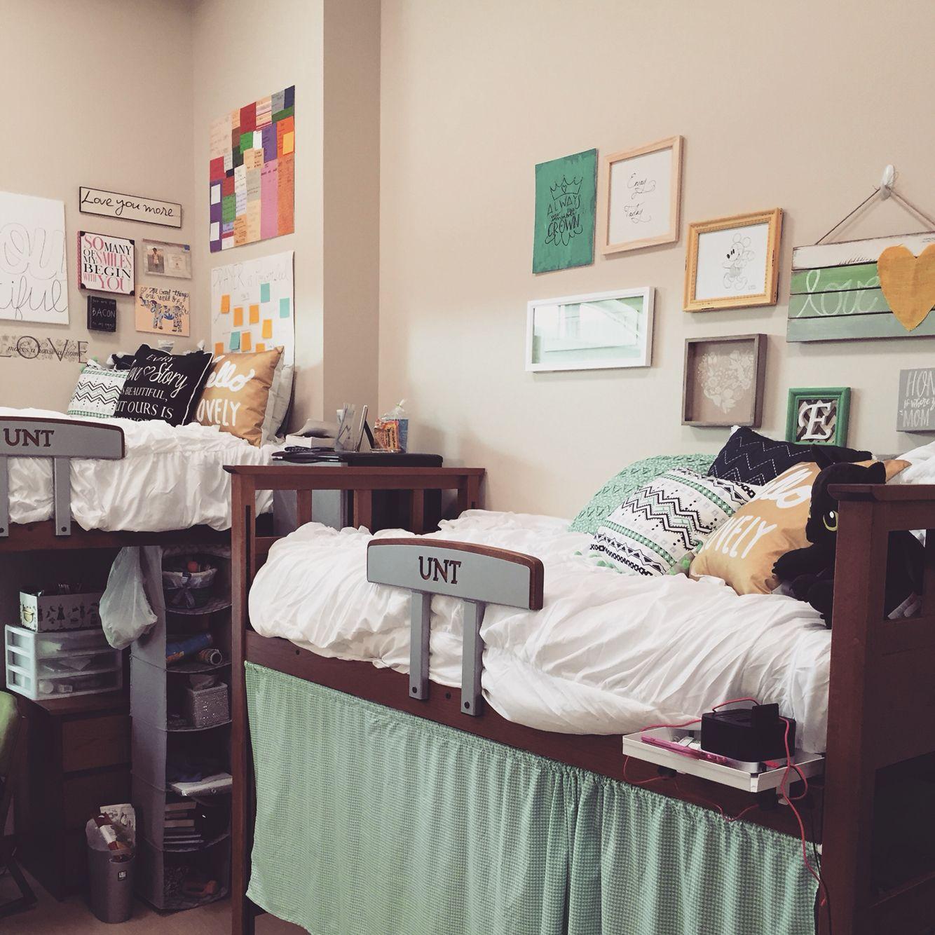 My Dorm At The University Of North Texas At Rawlins Hall Unt Meangreen College Dorm Room Hacks Dorm Room Dorm Sweet Dorm