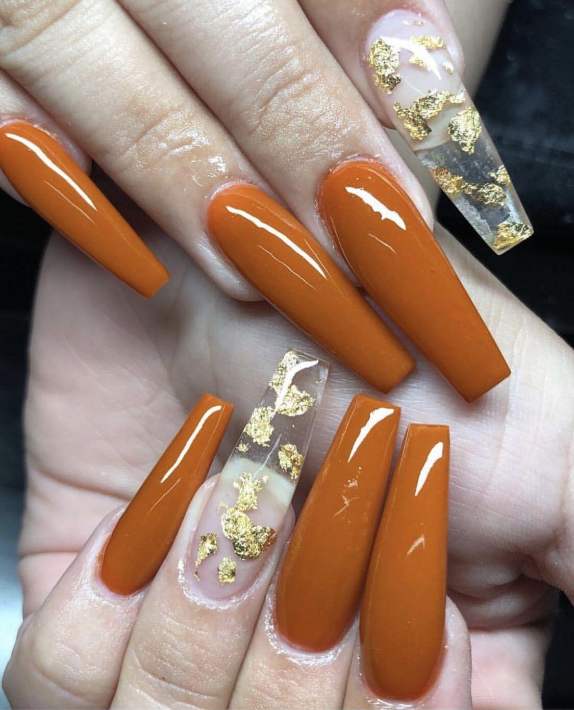 Pin By Iamkj Sshh On Nails Fall Acrylic Nails Orange Nails Cute Nails
