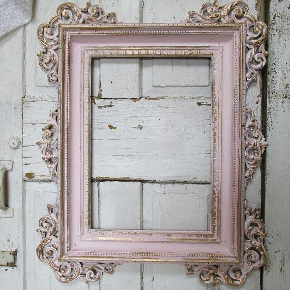 Ornate wood carved frame hand painted soft pink shabby cottage chic ...