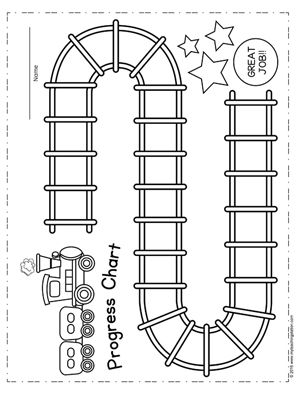 Student Train Progress Chart Chart, Child and Sticker chart - progress chart for kids