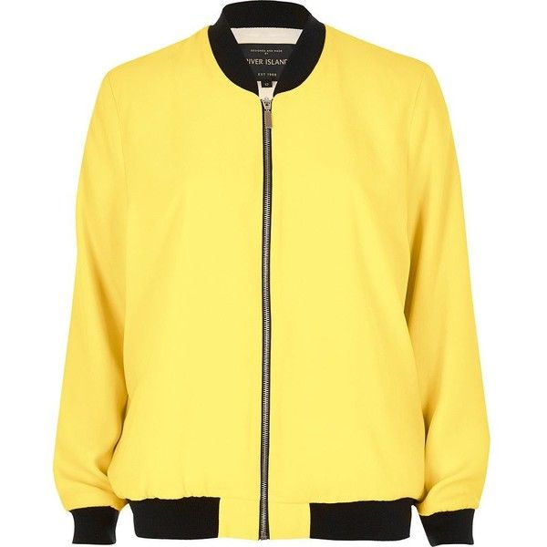 River Island Yellow woven bomber jacket (£73) ❤ liked on Polyvore featuring outerwear, jackets, bomber jackets, coats / jackets, women, yellow, yellow jacket, blouson jacket, woven jacket and lightweight jacket