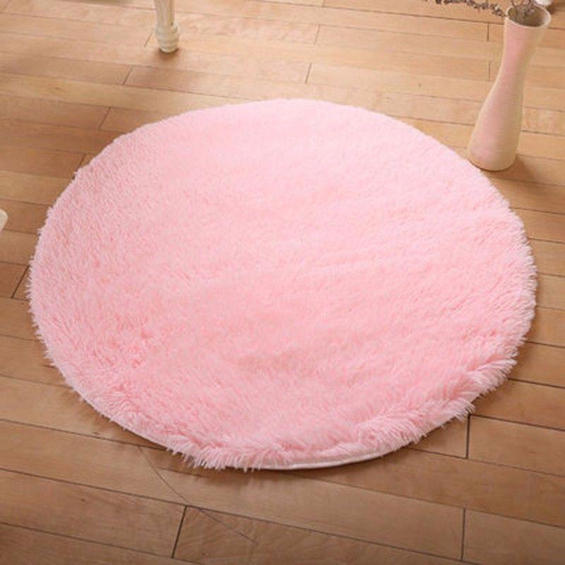 40/80/100cm Fluffy Round Foam Rug Non Slip Shower Bedroom Carpet ...