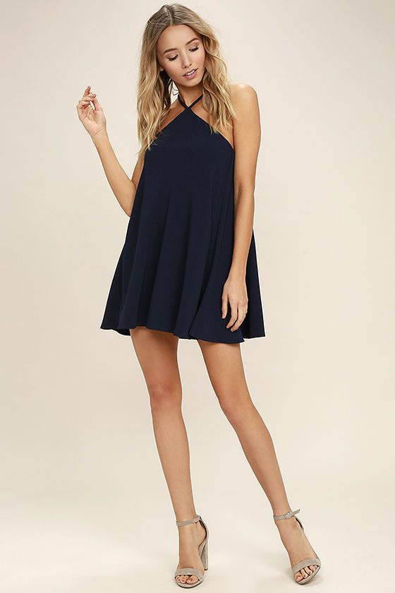 High Gear Navy Blue Shift Dress | Shape, The high and The o'jays