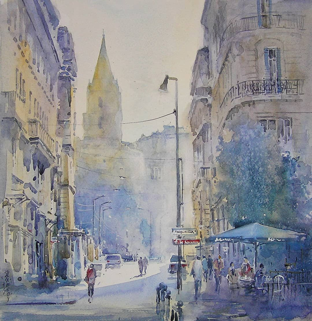 Watercolor Paper Paris Watercolor Akvarel Paris Cityscape