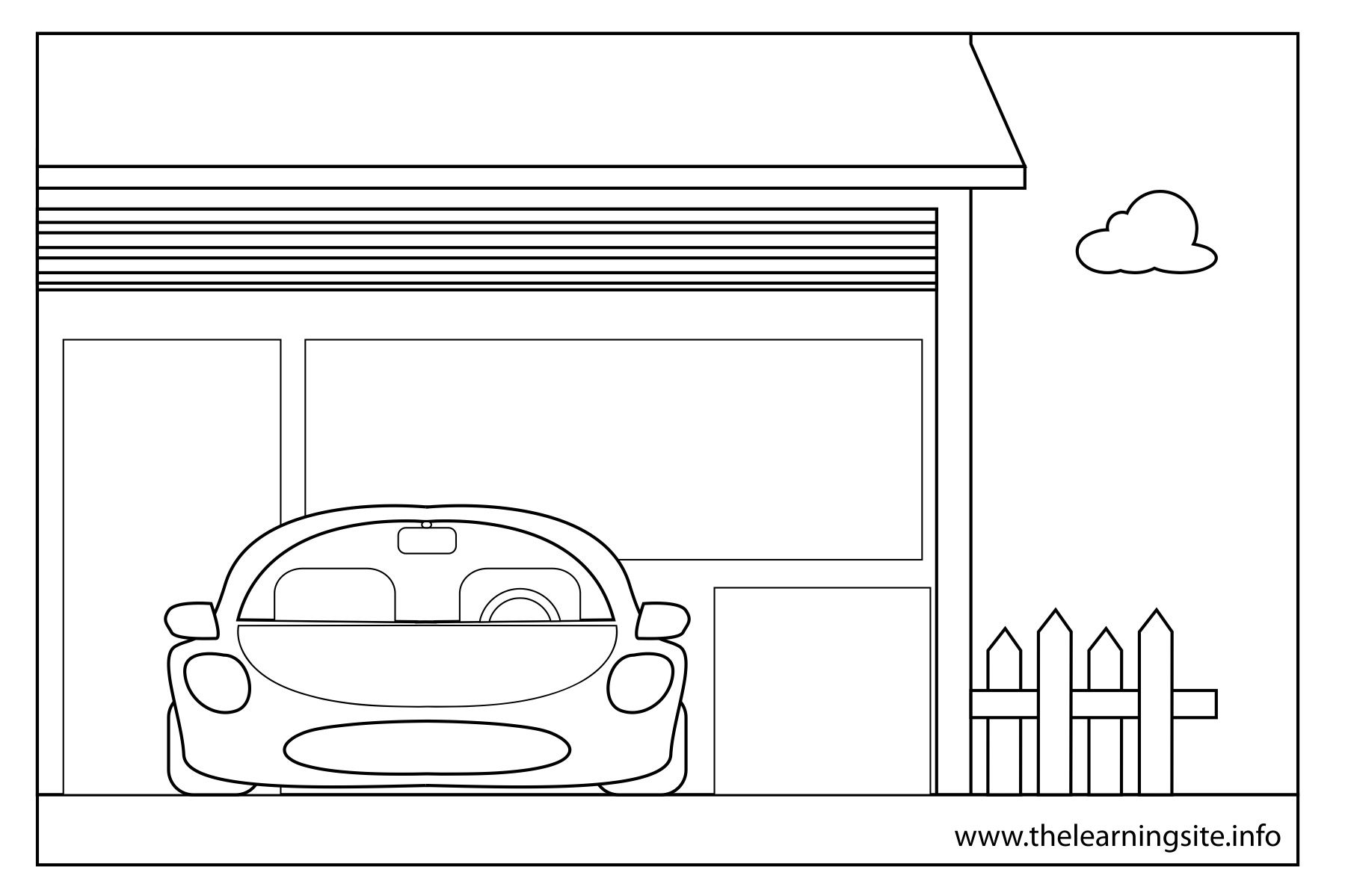 car garage coloring pages | Free the parts of the house coloring pages | esl activities