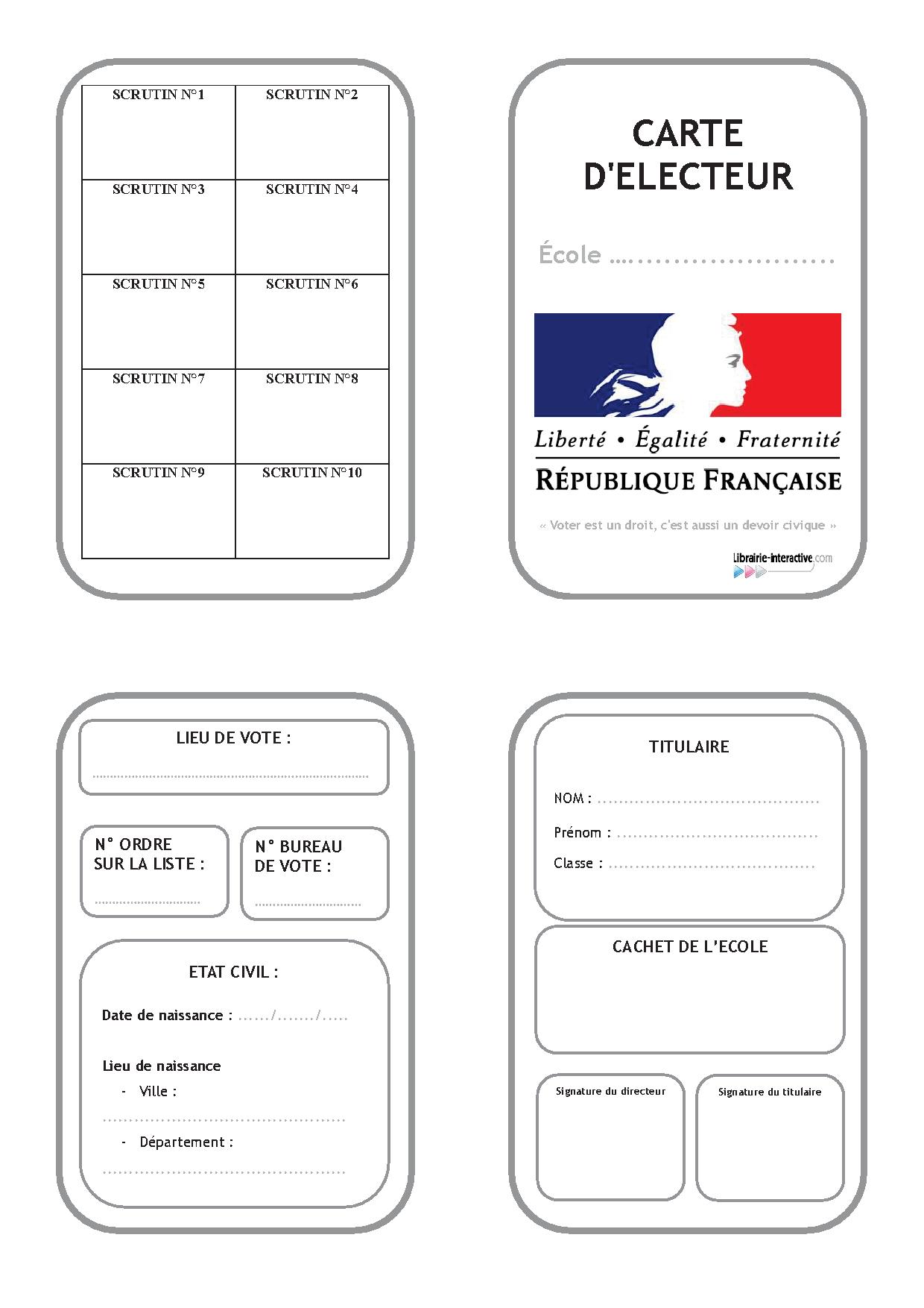 carte d électeur à imprimer Une carte d'électeur pour organiser les élections à l'école