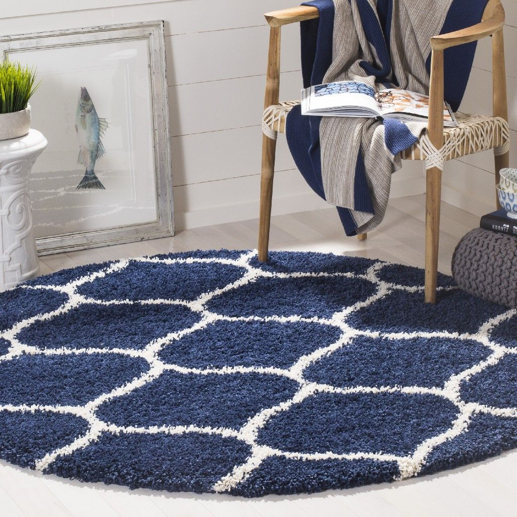 Hudson Shag Collection 9 X 9 Round Rug In Navy And Ivory