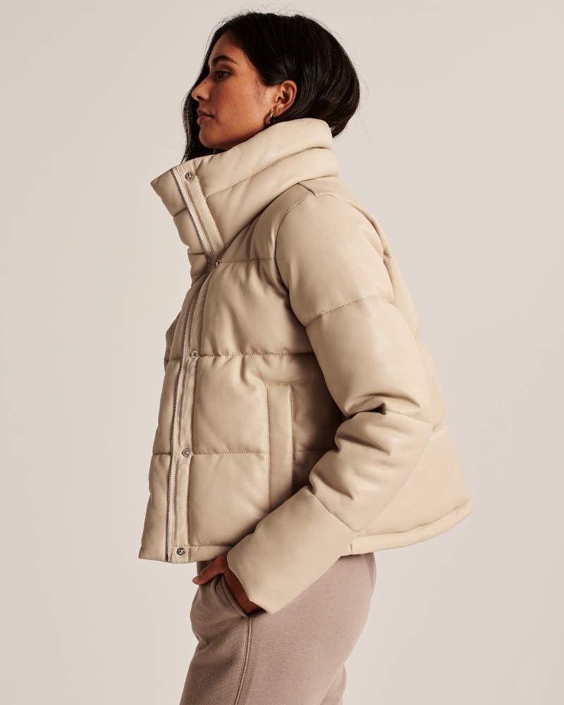Women S Vegan Leather Mini Puffer Women S Coats Jackets Abercrombie Com In 2020 Fashion Vegan Leather Leather Mini