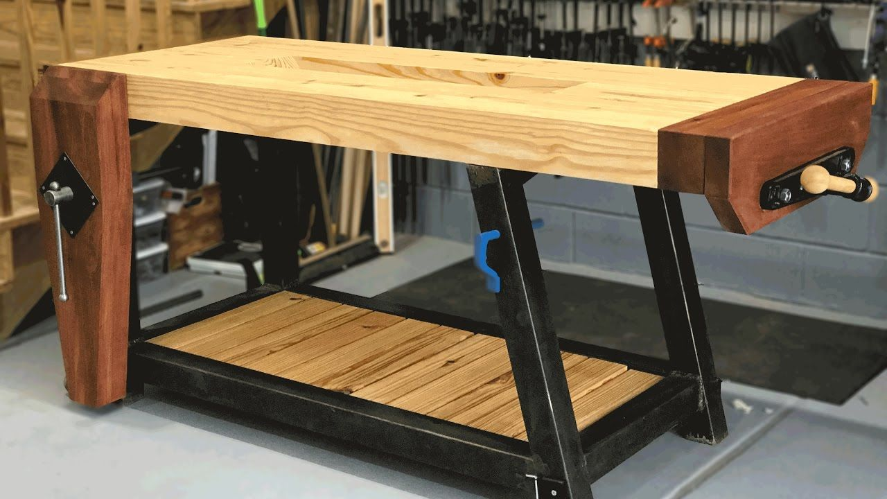Ultimate Woodworking Workbench Build Steel Base For The Welder Woodworking Projects Furniture Woodworking Workbench Woodworking Furniture Plans