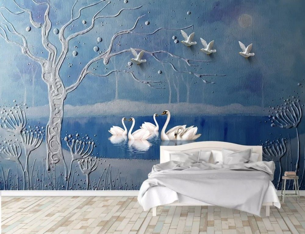 3D Embossed Look Swans and Lake Landscape Wallpaper Mural