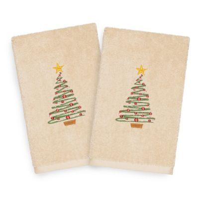 Linum Home Christmas Tree Hand Towels In Sand Set Of 2 Hand