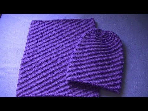 Вязание шапки бини узором по диагонали - YouTube | Knitting Video ...