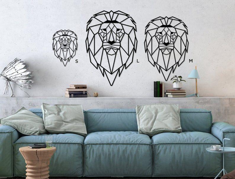 Ditcowest metal wall art lion lion metal head geometric
