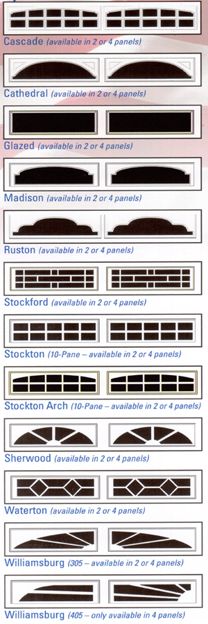 Chart Showing The Garage Door Window Inserts Selections For Xl