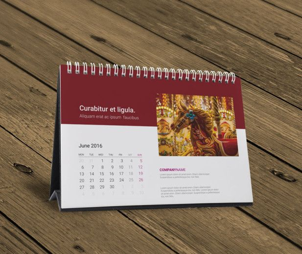Desk Table Yearly Calendar 2016 Design Temlpate