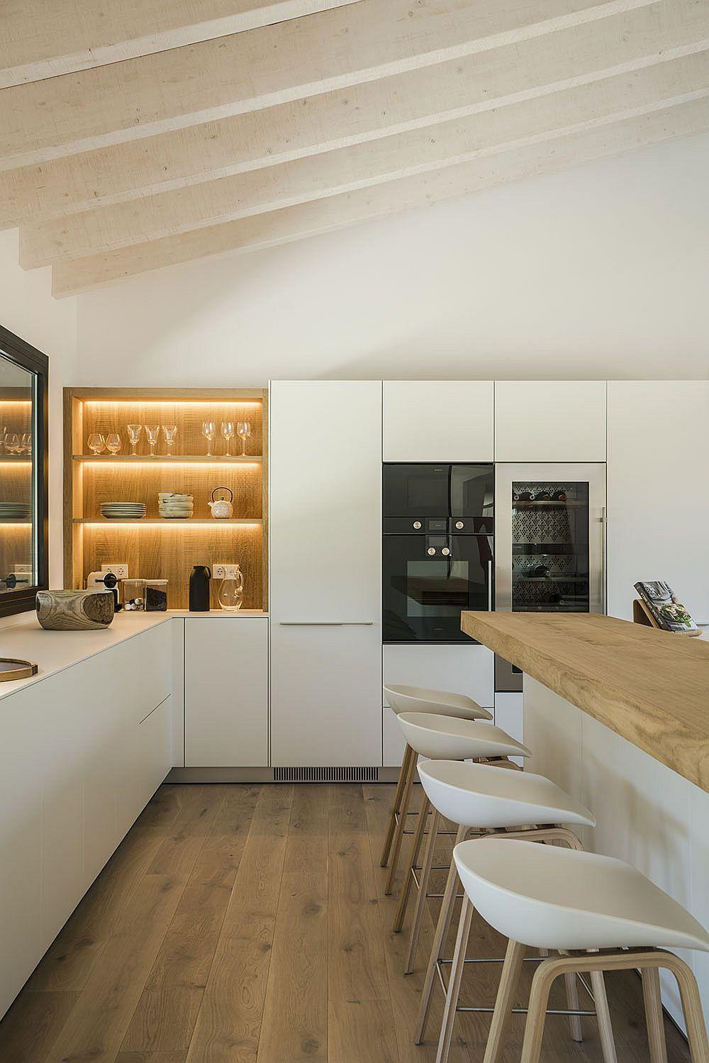 LED strip lighting for the open wooden shelf in kitchen - Decoist ...