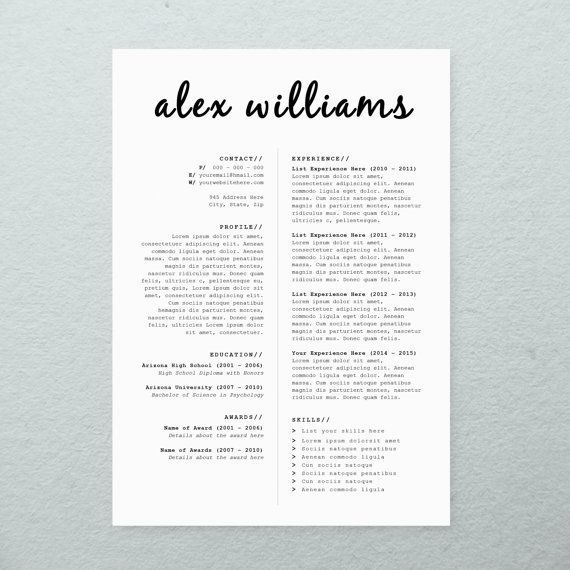Font For Cover Letter Cv Design  Cover Letter Printable Resume Template Instant