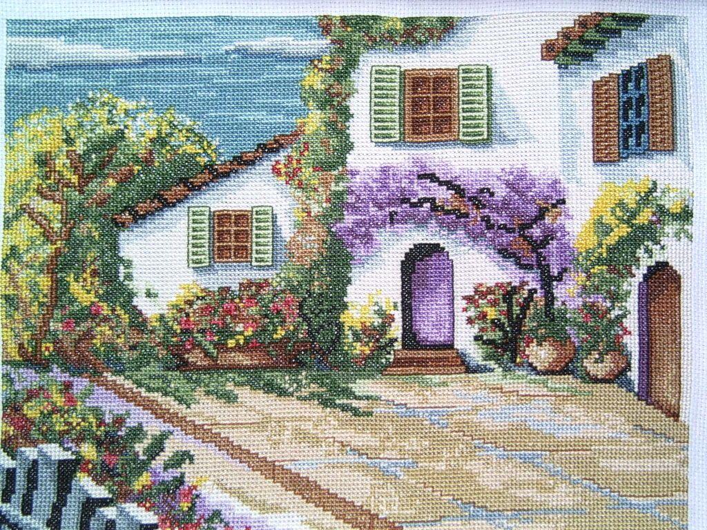 Cuadro punto de cruz casa de campo paisajes - Cuadros de casas de campo ...