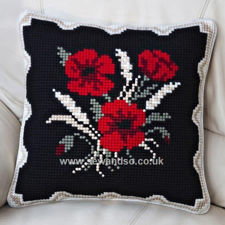 Buy Poppies and Corn Cushion Front Chunky Cross Stitch Kit Online at www.sewandso.co.uk