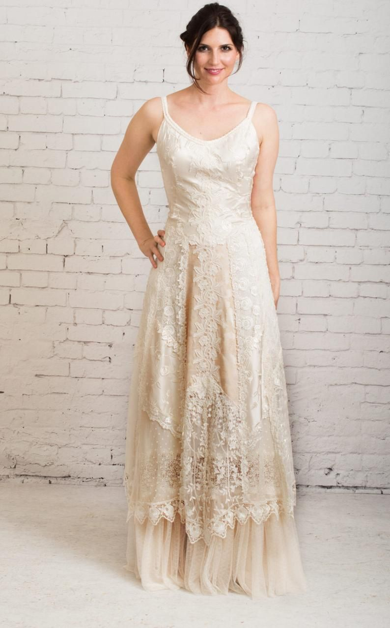 Boho wedding dress, casual wedding dress, simple wedding ...