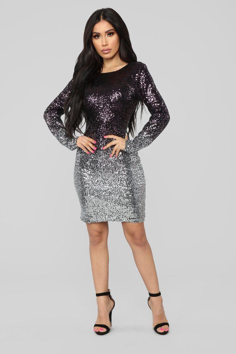 Wynning Sequin Dress Purple/Silver Long sequin dress